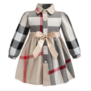Criança Bebés Meninas Plaid Dress Crianças lapela com botões Magro Plaid Skirt A-Line saia de algodão Vestido Meninas