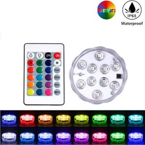 Dalgıç Led Işıklar, Su geçirmez RGB Çok Renkli Sualtı Işık, Pil Pool, Vaso için Uzaktan Kumanda ile Gölet Lights Powered