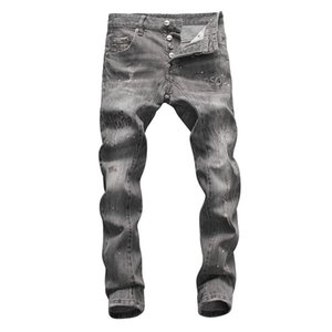 2020 new popular men's gray denim high-waist skinny trousers are more fashionable and versatile and comfortable