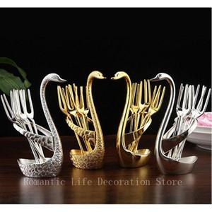 Silver swan fruit fork cutlery dessert set flatware suits holder gold fruit dessert fork cutlery quality wedding gift