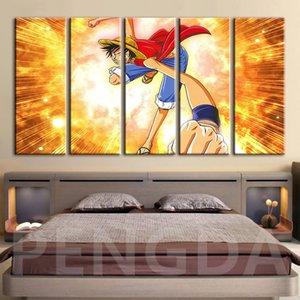Baskı Modüler Posterler Resimler Duvar Artwork Japon Anime Ev Dekorasyon Framework Boyama Tek Parça Monkey D. Luffy Tuval