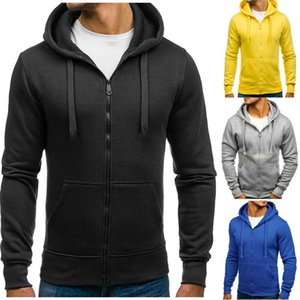 Autumn Winter Long Sleeve Solid Color Cardigan Coat Hooded Sweatshirts Fashion Casual Male Clothing Mens Designer Hoodies