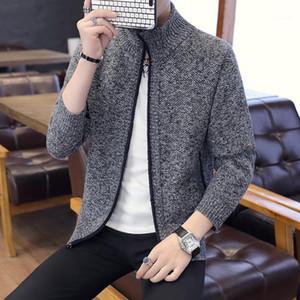 Открыть стежка Мужская Верхняя одежда весна осень одежды Сплошной цвет Мужчины конструктора свитер Stand Collar