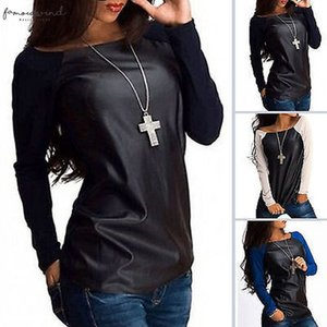 Coat New Womens Sexy Scoop Neck Jumper Long Sleeve Petal Sleeve Clothing Women Tops Leather Casual Tee Blouse Shirts Outwear