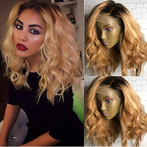 European and American women's new hot chemical fiber before lace dyeing anti-roll short curls high-temperature silk wig head cover