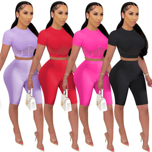 Women's Mesh Stitching Trumpet Summer Outfits Designer Two Piece Tracksuits Top Shorts Solid Color Sports Set Sexy Jogging Suit