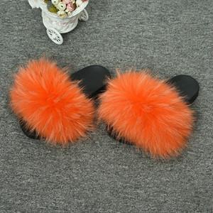Best-Selling Fur Slippers Outdoor Indoor Fluffy Slides Ladies Genuine Raccoon Fur Sandals