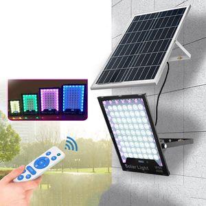 المصابيح الشمسية الصمام ضوء الفيضانات RGB تغيير لون الهواء الطلق الاضواء الكاشفة الغلاف الجوي مصباح IP65 للماء أضواء الشوارع للطاقة الشمسية 60W-400W