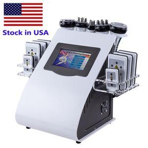 Estoque nos EUA 6 em 1 Vácuo Laser Radio Frequência RF Remoção Gordura 40K Cavi Lipo emagrecimento Lipoaspiração Lipoaspiração Máquina