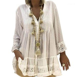 Fashion Ladies Polka Dot Casual Clothing Womens Chiffon V Neck Long Sleeve Blouses Womens Lace Patchwork Shirts