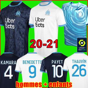 Top 21 20 camisa de futebol Olympique De Marselha OM marseille soccer jersey football shirt 2021 2020 PAYET GUSTAVO THAUVIN camisa de futebol uniformes homens crianças 120 anos