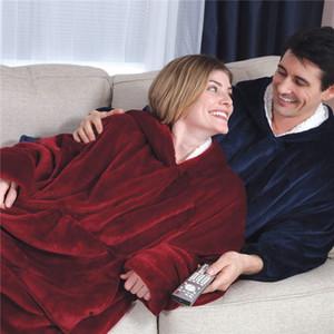 Capuche en peluche Sweat à capuche à capuche d'hiver en plein air pour adultes Slante chaude Table à capuche robe de peignoir en polaire pull couverture pour hommes femmes Sea1970