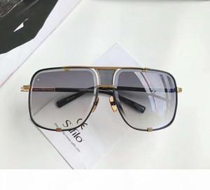Men Square 2087 occhiali da sole Black Gold Telaio Grigio Gradient Lens Sonnenbrille occhiali da sole di lusso di marca Occhiali da sole nuovo con la scatola