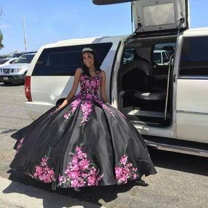 Embroidered Damas Quinceanera Dresses Black Satin Sweetheart Corset Back Vintage Charro Vestidos De Sweet 16 Dress Ball Gowns
