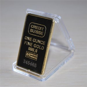 Credit suisse Souvenir coin bullion bar 24k Gold Plated Commemorative Coin Collect Hotsales 20pcs lot Free shipping 50*28*3mm