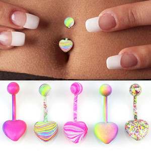 Fashion Stainless Steel Barbell Coating Belly Button Rings Body Piercing Jewelry Mixed Color S M