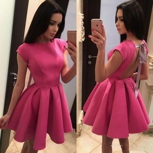 Sexy Fushica Backless Homecoming Dresses With Bow Knot Cap Sleeve Scoop Neck Mini Short Prom Gowns Cocktail Party Dress Custom Made