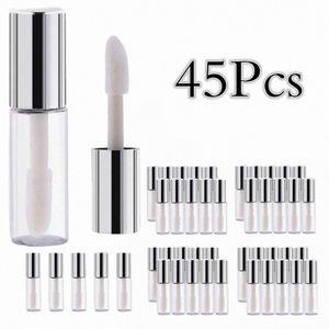 10 20 45 Pcs Empty Plastic Lip Bottle Container Silver Transparent 12ML Makeup Tool for Women Clear Lip Gloss Tubes GykZ#
