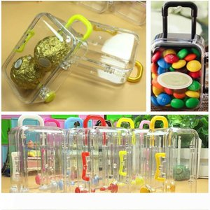 Mini Rolling Travel Suitcase Candy Box Baby Shower Wedding Favors Acrylic Clear Party Table Decoration Supplies Gifts HH7-1683