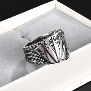 316L титана стали Рето Punk Rock кольцо Урожай европейский и американский фокусник покерный личность размер Хип-хоп мужчины кольцо ювелирных изделий: 7-15 #