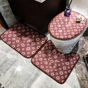 높은 품질 변기 문 매트 럭셔리 고양이 편지 인쇄 목욕 매트 패션 디자이너 욕실 3PCS 양복 커버