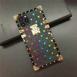 Luxury Square Cover For iPhone 11 pro X Xs Max Xr 8 7 Plus Samsung S20 Note10 Fashion Shiny Love Heart Soft Silicone Phone Case