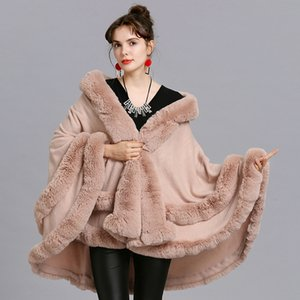 New large size imitation fox fur collar fur hooded cardigan shawl cloak Cloak coat coat 1566#