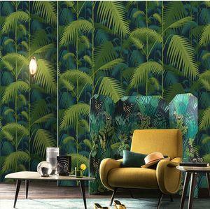 Southeast Asian style wallpaper Nordic banana leaf large leaves 3d living room bedroom TV background wallpaper
