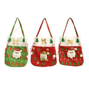 Christmas Handbag Atmosphere Tree Decor Eco Friendly Santa Reindeer Snowman Sack Children Candy Gift Bag High Capacity Christmas Decoration