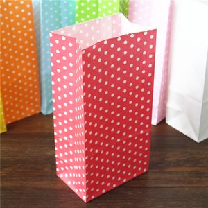 promotion Favor Bag birthday Stand up Colorful Polka Dots Paper Bags 18x9x6cm Favor Bag Open Top Gift Packing Bags Treat 100pcs