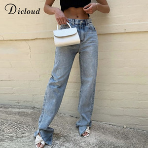 DICLOUD hohe Taillen-Mode Split Jeans mit Taschen Damen Herbst-Winter-bodenlangen Lang Flare Pants 2020 Street