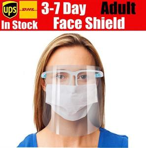 En stock plastique masque facial Bouclier bouclier facial Preuve de sécurité d'huile Splash Anti-UV de protection PET visage couverture transparente masque verre visage