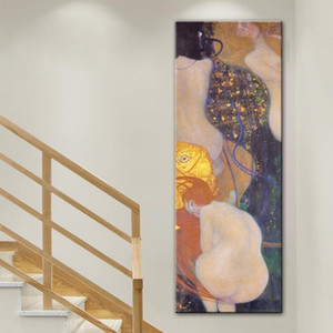 Gustav Klimt Kiss Goldfish Canvas Painting Vintage Art Reproductions Poster Prints Abstract Wall Art Pictures for Living Room Home Decor