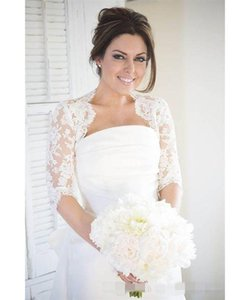 2020 Modest Half Sleeves Lace Wedding Bridal Jackets Bolero Applique Tulle Cheap Wedding Wrap For Wedding Dress Gowns Plus size