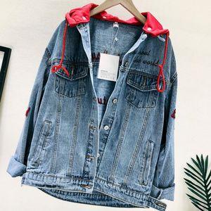 Primavera Outono soltas Denim Jacket Brasão alta qualidade mulheres Bordados Harajuku com capuz Jean Chaquetas Mujer Veste En Jean