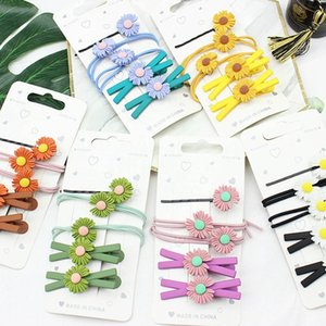 5pcs set Cute Daisy Flower Hair Clip Fashion Elastic Hair Ring Rope Bands HairPins Ponytail Girls Kids Holder Accessories