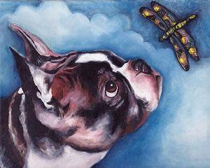 VERN Ev Dekorasyonu İnşaat Müteahhitleri / Açık Tuval Wall Art Canvas Resimler 200.716 Boyama HD Baskı Yağı Boyama BOSTON TERRIER YUSUFÇUK Köpek Hayvan sanat