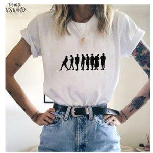 Luslos Ateez T Shirt Fashion Korean Style Women T Shirts Fans Tee Tops Female Short Sleeved Summer Streetwear Tshirt White Petal Sleeve