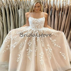 Fitted Lace Champagne Prom Dresses A Line Floor Length Tulle Long Evening Dress Cross Backless Appliques Formal Graduation Dress 2020 Robes