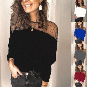 Katı Renk Kadın Giyim Kadın Tasarımcı Tişört Moda Kasetli Uzun Kollu İnce brife Dantel Bluz Tops