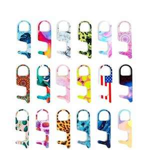 hot Key chain Acrylic Non-Contact Door Opener Touch Key Hook Door Handle Key Elevator Tool 19style Party Favor DHC23