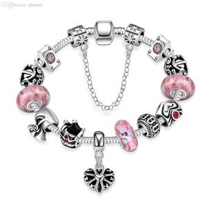 bracciali perline rubino Incanto all'ingrosso moda 925 gioielli in argento sterling rosa pietra naturale epoca fai da te s Charm Bracciali