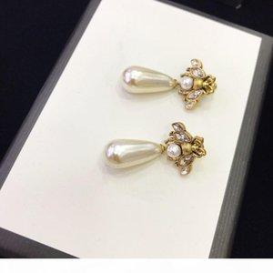 S New Retro Little Bee Drop Pearl Designer Earrings Luxury Designer Jewelry Women Earrings