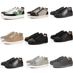 2020 Qualitäts-Art- und Schuhe rote Unterseite Leder Studs Stylist Schuhe Flache niedrige Stiefel Spikes Turnschuhe Männer Frauen Partei-Schuhgröße 34-48