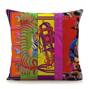 새로운 홈 장식 베개 고급 패턴 인쇄 쿠션 커버 45x45cm 코튼 린넨 베개 커버 유로 스타일의 베갯잇