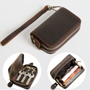 Men's multi-function key leather hand carrying short key leather zipper coin purse female hand carry bag handbag