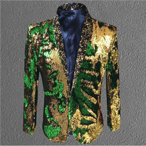 jacket sequin Gold Green Blazer men Suit Coat Male Costume Prom Wedding Groom Outfit Singer Black Party Stage