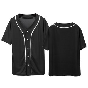 2020 Fashion Solid Color Baseball T Shirts Women Men Casual Cardigan V-neck Baseball Jersey Short Sleeve T-shirt Summer Tee Tops