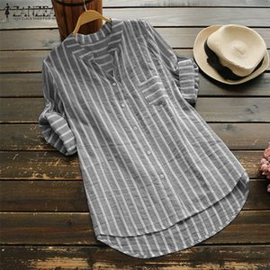 ZANZEA Plus Size Women Blouse 2020 Summer Womens Striped Tops Casual Work Shirts Ladies Elegant Blusas V Neck Blusa Feminina 5XL Y200622