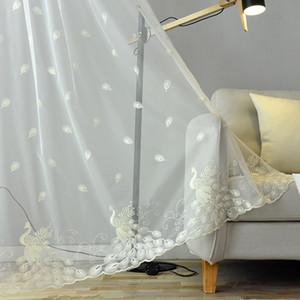 Phoenix stickte bloßer Vorhang für Wohnzimmer Zarte Peacock Royal Blue Cortina Tende M081C